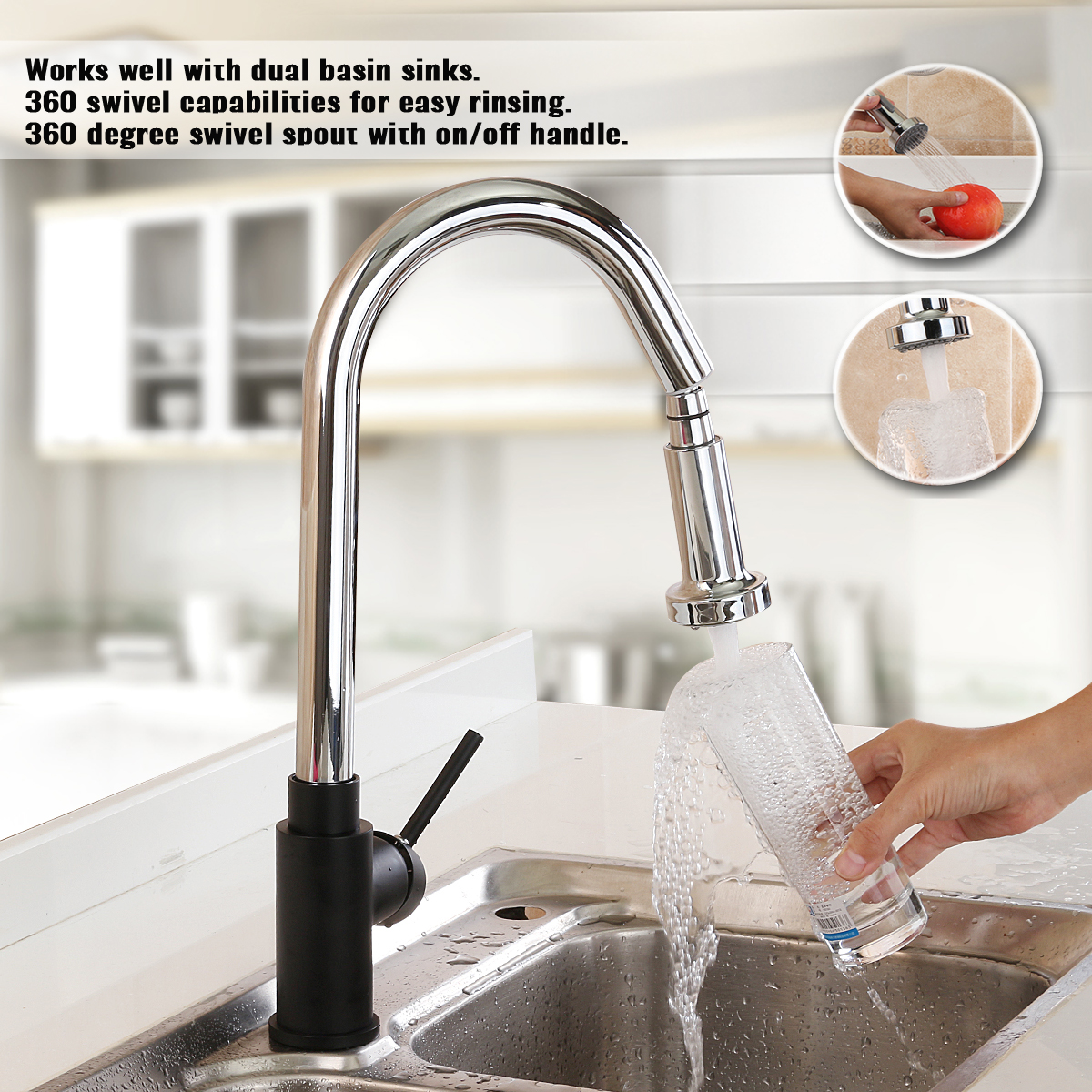 Chrome Black Crane Kitchen Faucet Mixer Pull Out Kitchen Tap 360 Rotate Copper Sink Mixer Tap Hot and Cold Water Single Handle 360 rotate copper chrome swivel kitchen faucet mixer cold and hot silver single hole handle kitchen water tap