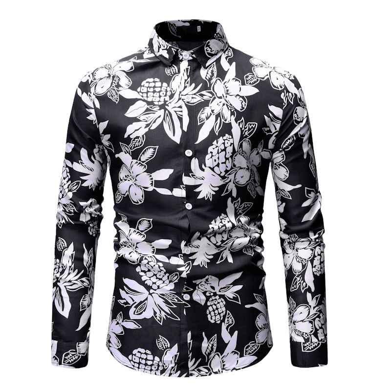 3D лист печати мужские рубашки в цветах 2019 весна новый тонкий длинный рукав Мужская гавайская рубашка Свадебное платье жениха рубашки Camisa Masculina