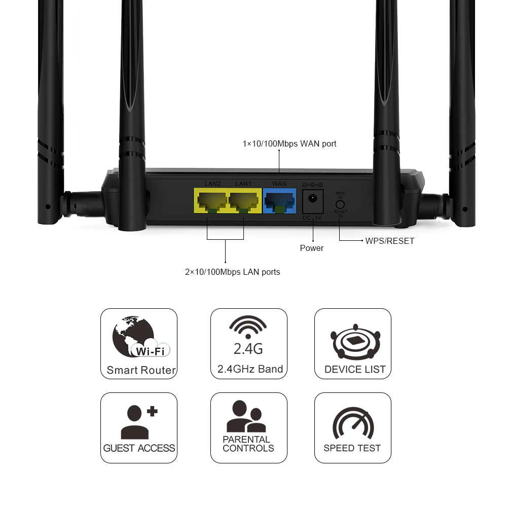Wavlink 24g 300mbps Wireless Wifi Router Repeater Access Point Wan Port Connect The Smart App Easy Setup With 4 External Antennas Wps Button Ip Qos Previous Next