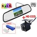 Система помощи при парковке 4.3 дюйма TFT LCD обратное зеркало для авто монитор заднего вида + 4 Светодиодных Фонариков Автомобильная Камера Заднего Вида