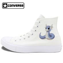 Women Men Pokemon Converse Shoes Chuck Taylor II Anime Dratini Design Canvas Sneakers Skateboarding Shoes White Black Can Choose