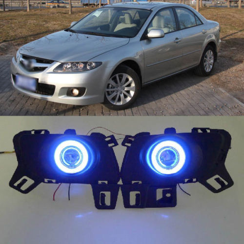 Ownsun Innovative Super COB Angel Eye Ring Fog Light Projector Lens for Mazda 6 ownsun innovative super cob fog light angel eye bumper projector lens for toyota camry