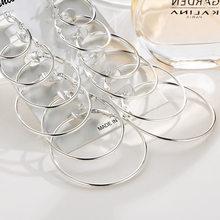 Novo 6 pares/set brincos de argola ouro prata cor pequena grande círculo brinco conjunto para as mulheres simples punk orelha clipe 2019 moda jóias