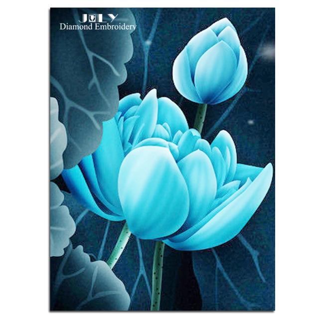 Diamonds Painting Cross Stitch Blue Flowers Diamond Handcraft
