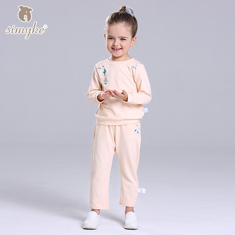 Simyke Children's Sets 2017New Gils Long Sleeve Sweatshirt+Sport Casual Trousers Toddler Girl Set Clothes Kids Clothing D0086 studio m new teal marled long sleeve sweatshirt s $68 dbfl