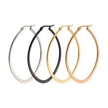Взрывное увеличенное большое кольцо для ушей овальные круглые и плоские стальные серьги для ушей Новинка