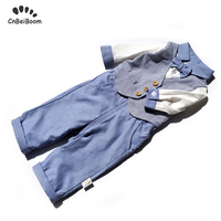 Baby rompers for newborn Boys Formal Clothing Kids Attire For Boy Clothes long Sleeve Baby Romper pant 2pcs sets for birthday
