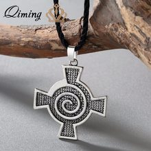 QIMING New Brand Jewelry Women Silver Celtic Spiral Whirlpool Cross Pendant Charm Necklace Viking Pendant Men Jewelry(Hong Kong,China)
