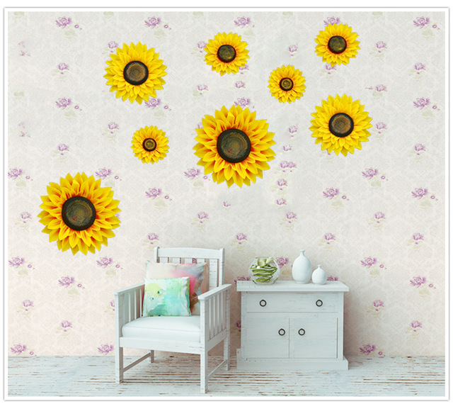 Simulation flower family fake flower three dimensional sunflower wall stickers movie wall decorative flower art