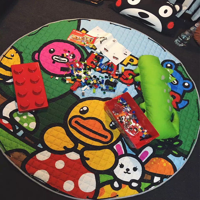 1.5m Cotton Kids Game Mats Baby Crawling Blanket Round Play Mat Chilren Play Rug Games Carpet Infant Room Storage Bag 120cm play mat baby blanket inflant game play mats carpet child toy climb mat indoor developing rug crawling rug carpet blanket