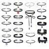 24 Pcs Sets Black Lace Velvet Collar For Women Fashion Shoelace Choker Necklace Vintage Harajuku Ribbons