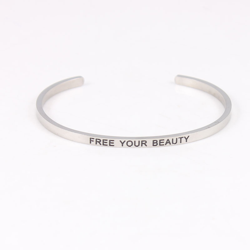 New 316L Stainless Steel Bracelets Bangles Engraved Positive Inspirational Quote Cuff Bangle Mantra Bracelet for Women in Bangles from Jewelry Accessories