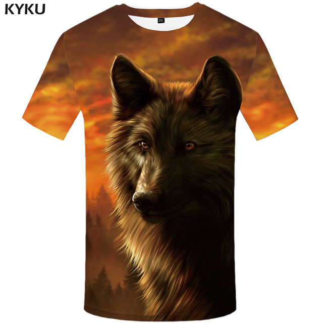KYKU Wolf T shirt Jungle shirts Animal Clothing Tees Clothes Tops Men Mens Male Slim Homme