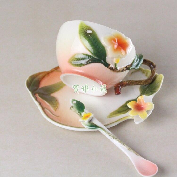 3D Colored Enamel Coffee Mug Cup Set Hibiscus Ceramic Tea Milk Drinkware With Spoon Porcelain Creative Copa Friend Gift