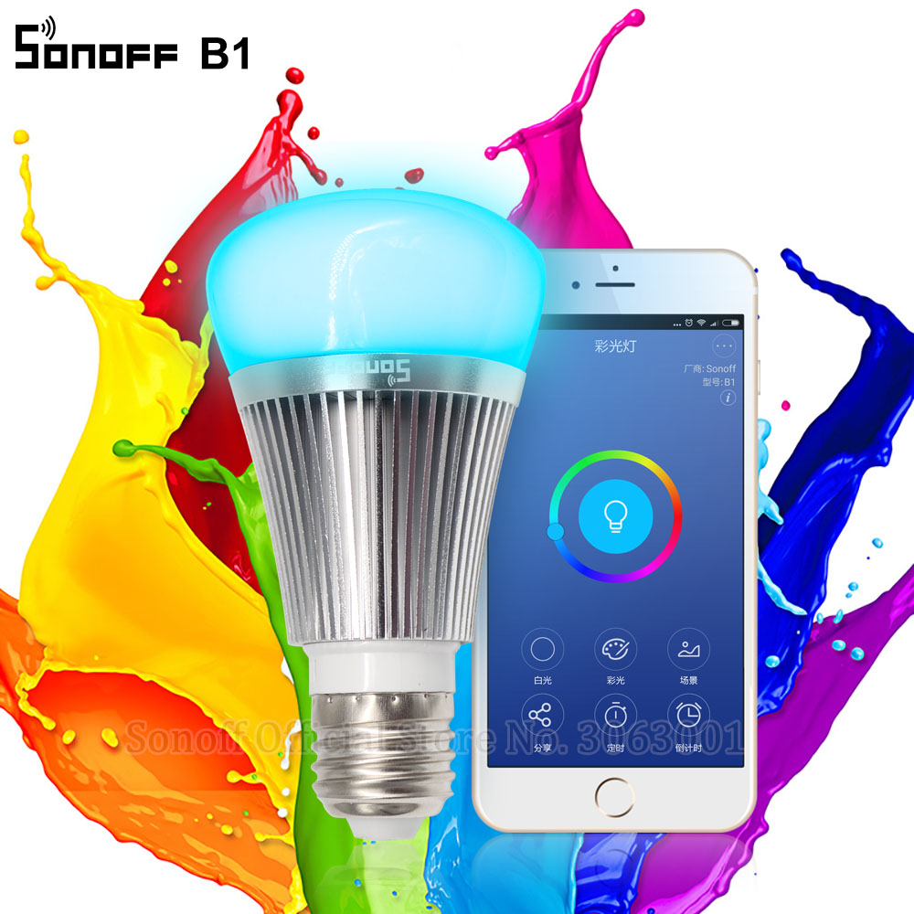 Sonoff B1 Led Bulb Dimmer Wifi Smart Light Bulbs Remote Control Wifi Light Switch Led Color Changing Light Bulb Works With Alexa