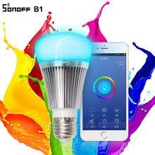 Sonoff B1 Led הנורה דימר Wifi חכם אור נורות שלט רחוק Wifi מתג אור Led צבע שינוי אור הנורה עובד עם Alexa