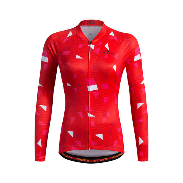 6f5141ec2 Red Women s Cycling Jersey Long Sleeve Ladies Bike Bicycle Shirts Reflective  Plus Size Mountain Bike Maillot Top S-XXXL 2017