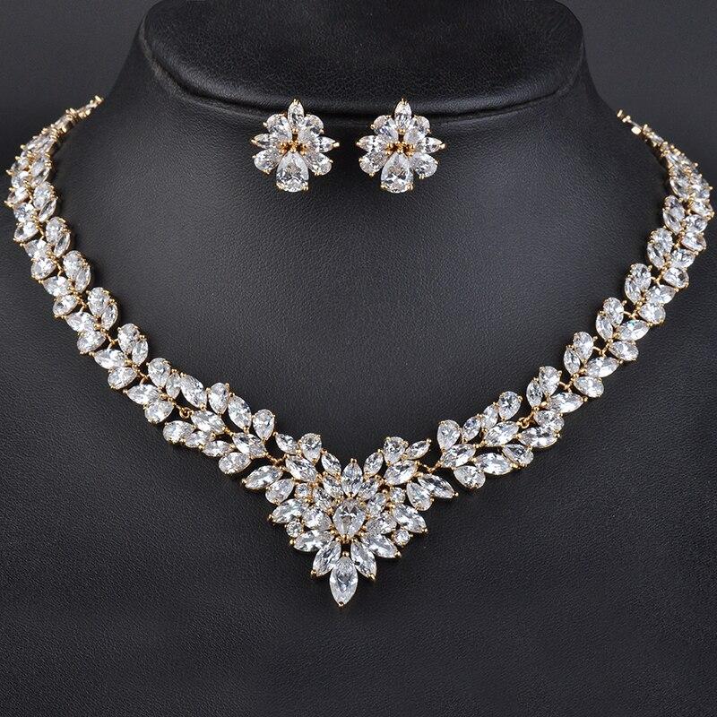 Moda nowy kobiety zestawy biżuterii Rhinestone naszyjnik kwiatowy kolczyki dynda zawieszki kryształ w złotym kolorze Party prezent GLN0100 w Zestawy biżuterii od Biżuteria i akcesoria na  Grupa 1