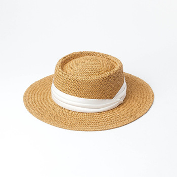 Sombreros de verano COKK para mujer, sombrero de playa de paja para mujer, protector solar de tapa plana para mujer, sombrero de vacaciones para viajes al aire libre, Sombrero panamá de visera ancha