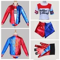 NEW movie Suicide Squad Harley Quinn female clown cosplay costume clothing halloween anime coat jacket one set uniform XXL