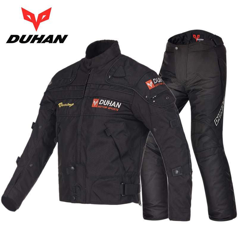 DUHAN Winter Motorcycle Moto Racing jacket Pants set , Cross Country Knight Locomotive Equipment Wrestling Warming trousers for yamaha motorcycle jacket cross country clothing motorcycle black jacket free shipping giving protection summer