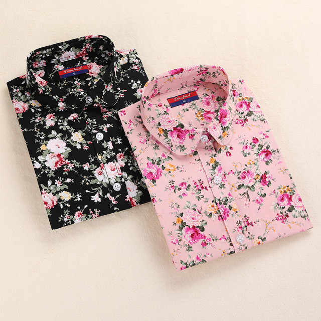 Women Summer Blouses Vintage Floral Blouse Long Sleeve Shirt Women 3