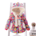 Children Coat 2016 Winter Girls cashmere Thickening Super warm jacket Baby Printing Flowers Cotton-padded clothes