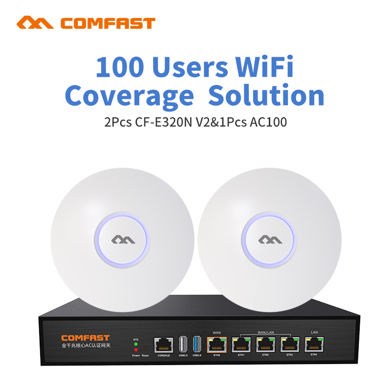 DHL free Comfast Wifi networking AC mangement solution For Home Office Wifi Coverage 400Square 100user 2pc indoor ap 1 ac router