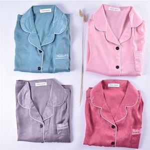 Image 5 - ZOOLIM 2018 Autumn Winter Pink 7 Pieces Elegant Women Pajamas Sets with Pants Long Sleeve Pyjama Silk Elastic Waist Pijama
