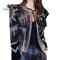 Осенне зимняя куртка для женщин высокое качество блёстки бриллиантами черное пальто модные короткие куртки