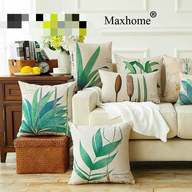 American Retro Green Sofa Throw Pillow Cushion Decorative Home Decor Cotton Linen Pillowcase Luxury
