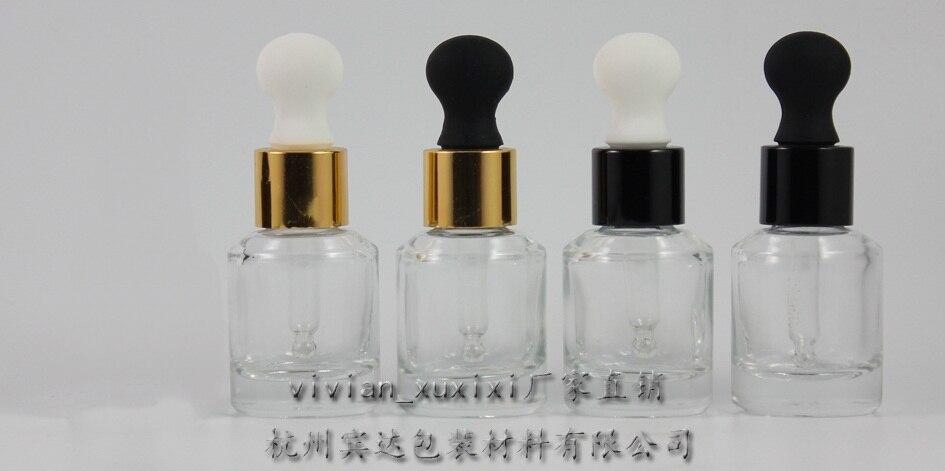 15 ml helder Glas Etherische Olie Fles Met aluminium dropper cap. de bodem van fles is dikke, Essentiële olie Container-in Hervulbare Flessen van Schoonheid op  Groep 1