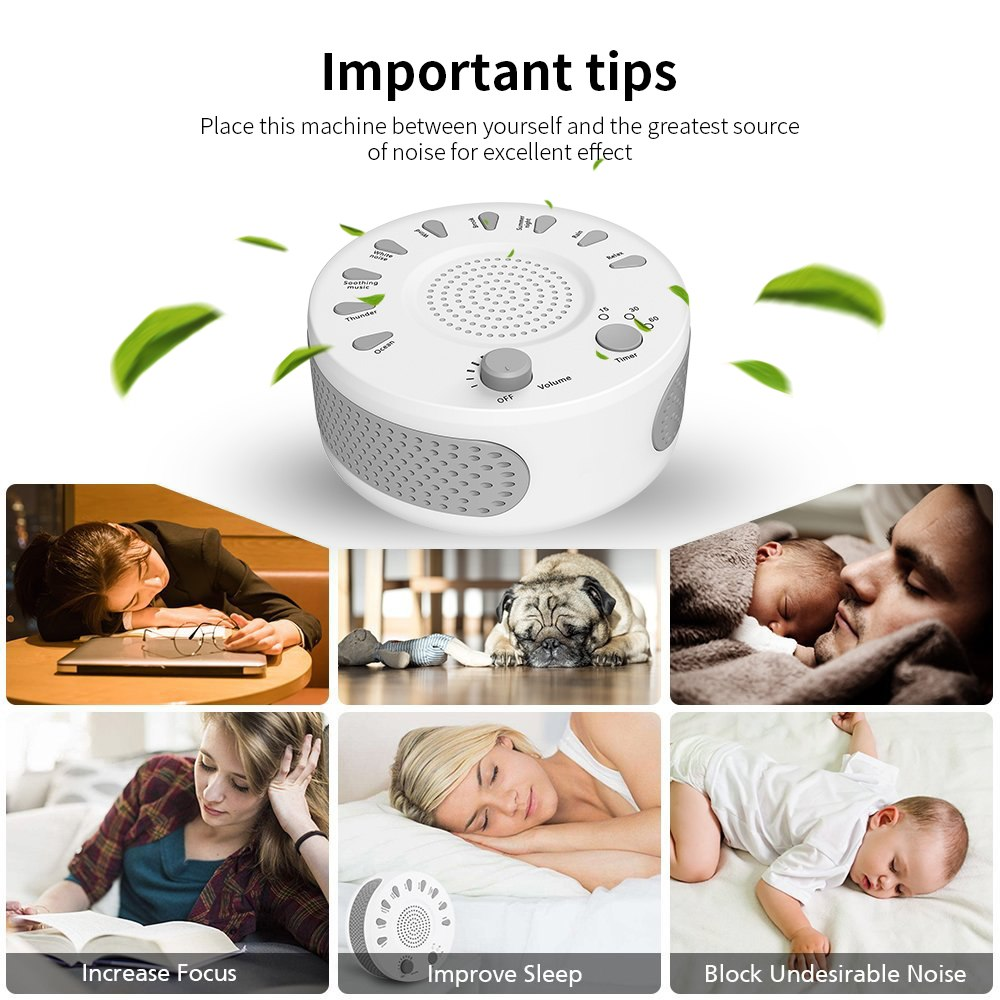 Baby Sleep Soothers Sound Machine White Noise Record The Voice Sensor Relaxing Auto-off Timer For Home Office Travel baby therapy sound machine white noise portable sleep soother machine record voice sensor soothing music sleep therapy regulator