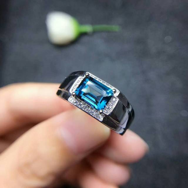 MeiBaPJ Real Natural London Blue Topaz Gemstone Men Ring Real 925 Sterling Silver Ring Fine Wedding Jewelry