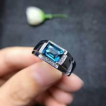 MeiBaPJ ريال الطبيعية لندن الأزرق توباز الأحجار الكريمة الرجال خاتم ريال 925 فضة خاتم غرامة مجوهرات الزفاف