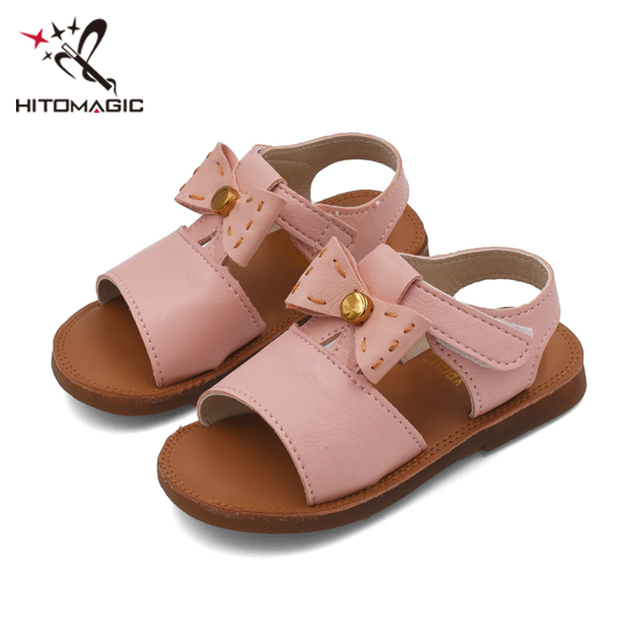 HITOMAGIC Kids Girls Shoes Children Summer Sandals Princess 2018 Red  Leather Bow Baby Shoes For Girls 683ab202fa1e