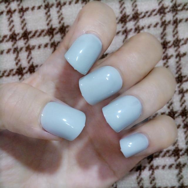 Aliexpress Buy Fashion Short Nails Tip Candy Light Blue