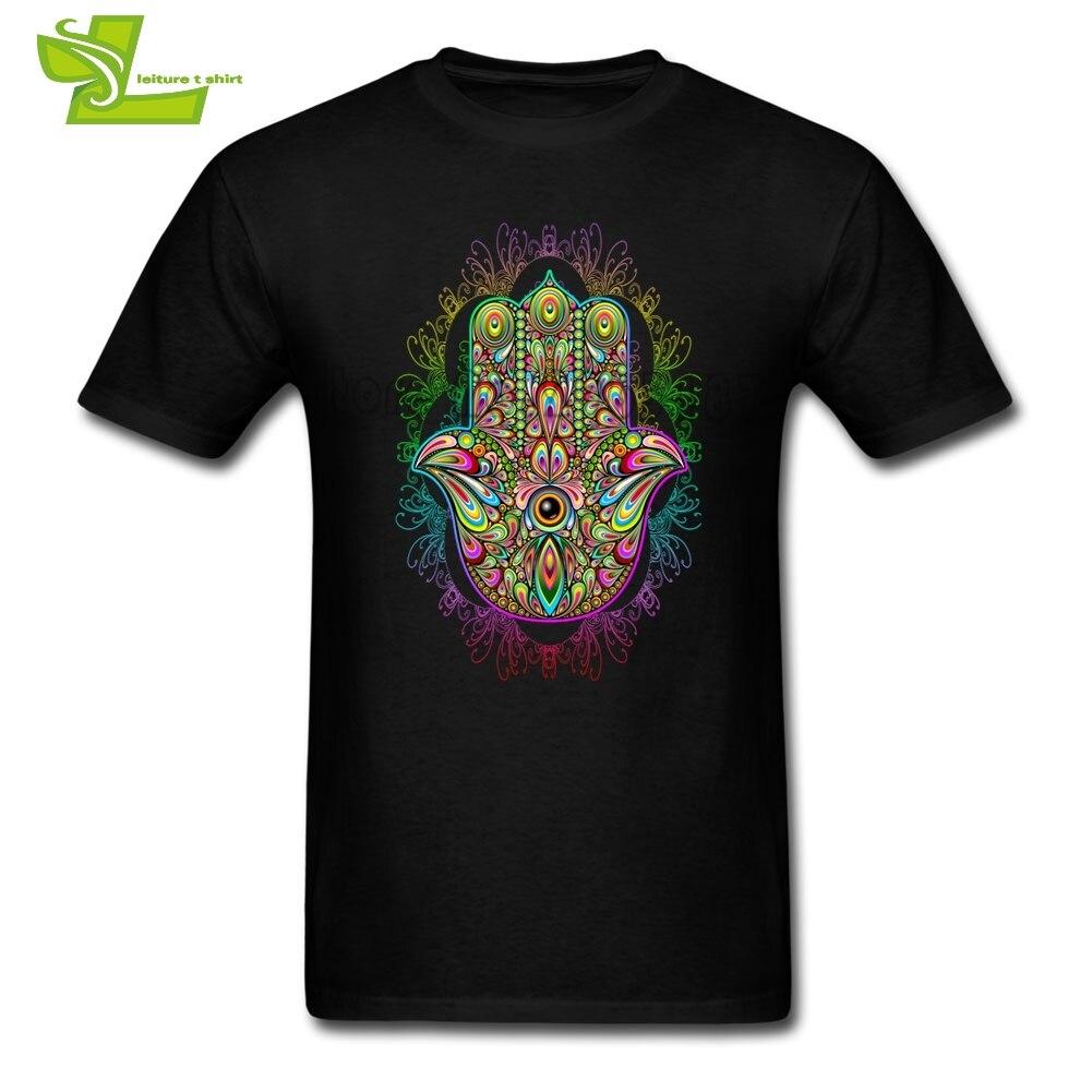 Hamsa Hand Amulet Psychedelic T Shirt Men's Short Sleeve 100% Cotton Male Big Tshirt Home Wear Comfortable Teenboys Tee Shirt