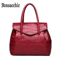 Bonsacchic Women's Red Handbag Crocodile Luxury Handbags Women Bags Designer Lady's Red Bags for Women Leather Handbags