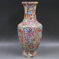 Jingdezhen antique handicrafts Qing Dynasty qianlong enamel Golden Hexagonal Flower vase antique collection ornaments