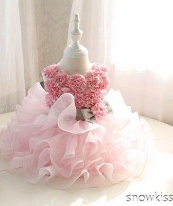 Knee-length blush Pink Flower Girl DressTiered tulle cupcake Toddler infant tutu Girl Birthday Dress