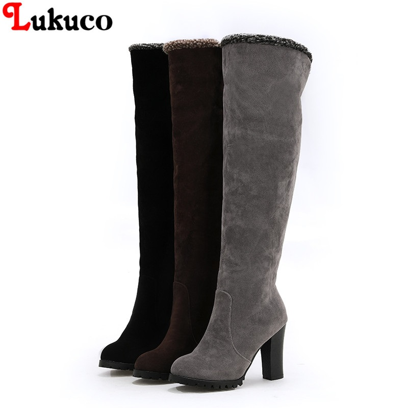 Lukuco 2018 Large Size 41 42 43 44 45 46 47 48 Winter Flock Boots Knee High Botas High Quality Handmade Warm Plush Shoes Woman 2019 lukuco winter warm plush women boots oversize 38 39 40 41 42 43 44 45 46 high quality botas custom handmade pu lady shoes