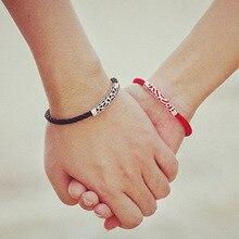 1 пара S925 посеребренные любовника канатные браслеты-пара браслет обновления новый стиль веревку более тонкий Показать любовь браслеты