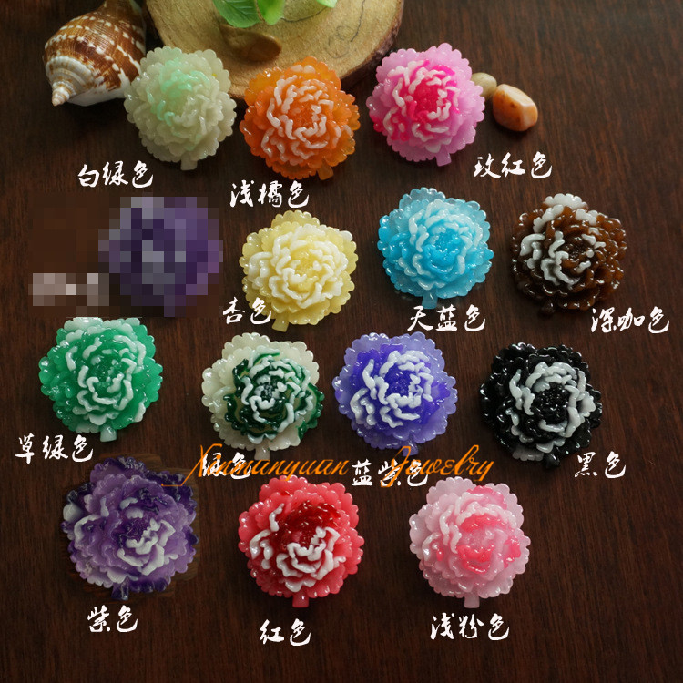 (10 pieces/lot) 32x34mm flatback resin flower cabochons cameo diy accessary for jewelry rx002