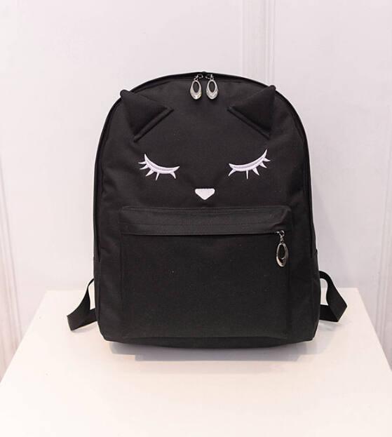 Cute Cartoon Cat Print Canvas Backpack
