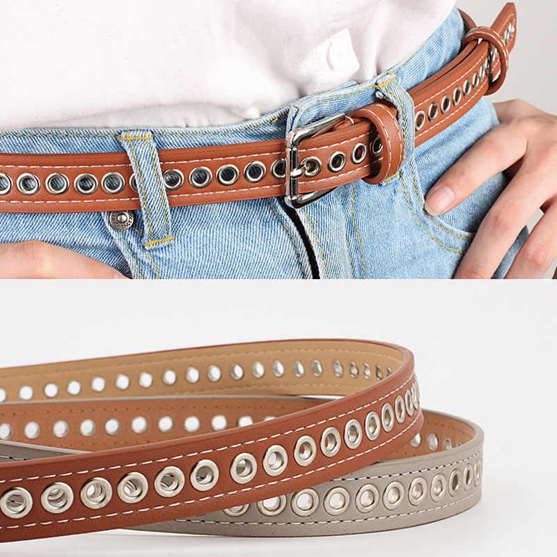 Inverno nova tendência das senhoras oco largo cinto moda das mulheres casual cintura calças de brim femininas cinto decorativo