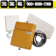 CALIENTE GSM 900 1800 WCDMA 2100 de Triple Banda de Refuerzo 2G 3G 4G LTE 1800 65dB Repetidor Del Teléfono Celular Amplificador de Señal De Teléfono Móvil para europa