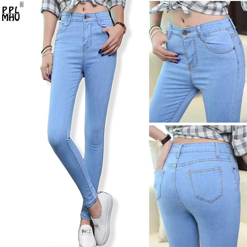 High Waist Women's Skinny   Jeans   2018 New Fashion Fitted Denim Trousers Plus Size Vintage Stretch   Jeans   For Female Casual Pants