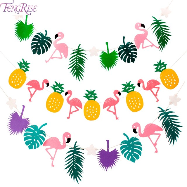 FENGRISE Flamingo Pineapple Fabric Banner Cocunut Leave Bunting Garland Party Favors Wedding Decoration Birthday Supplies
