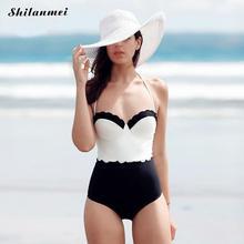 2017 Sexy Cami Women One Piece Swimsuit Push Up Black White Patchwork One Piece Swimsuits Monokini Maillot De Bain Bathing Suit